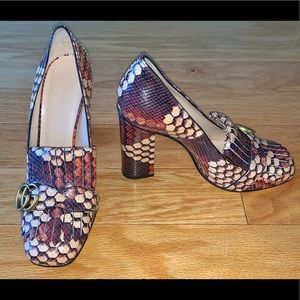 GUCCI MARMONT GG BLOCK PYTHON HEEL-NEW IN BOX 39.5